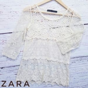 Zara Elegant Lace Embroidered Floral Top